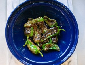 Padron peppers served in a dish
