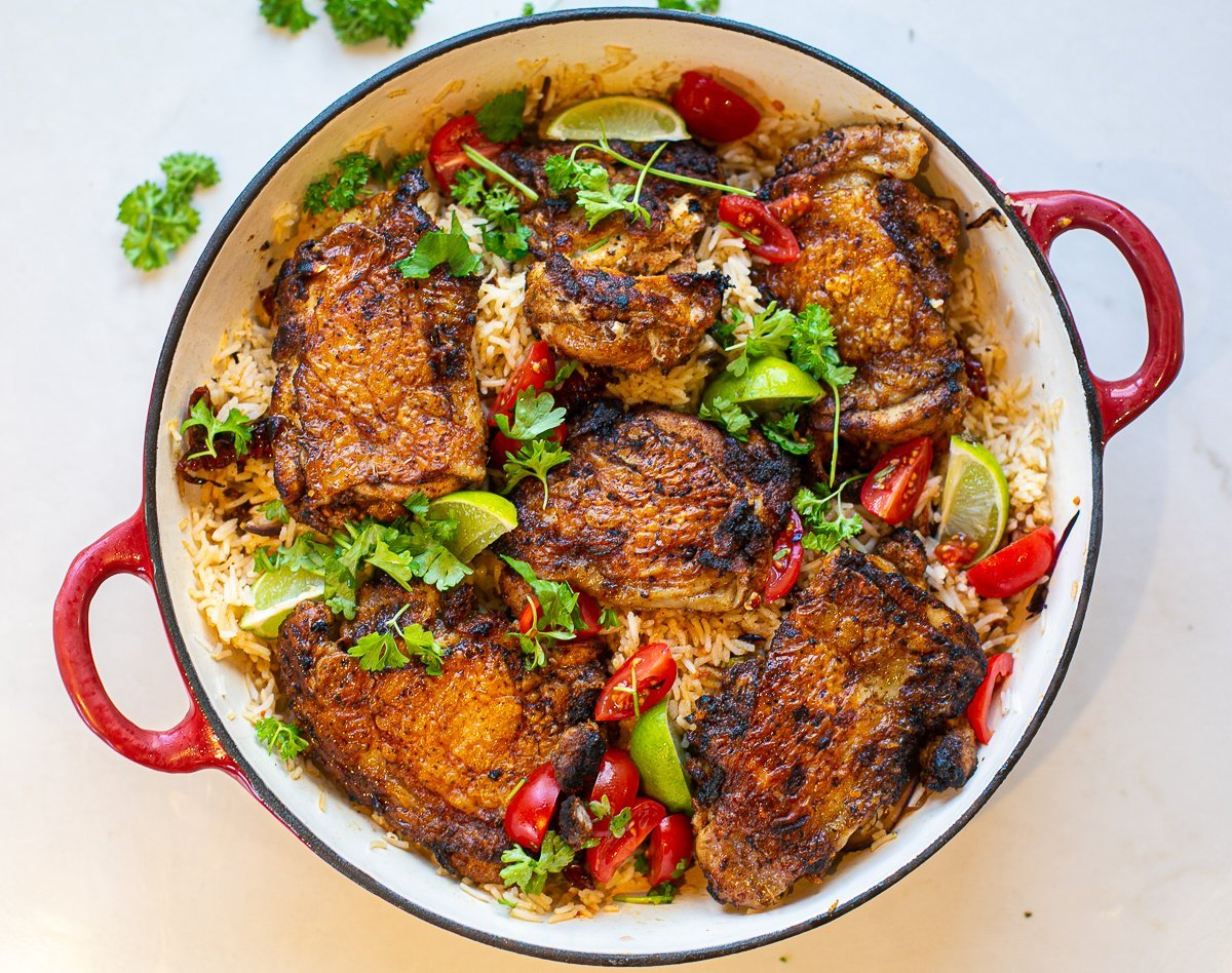 special chicken and special rice served in a pan