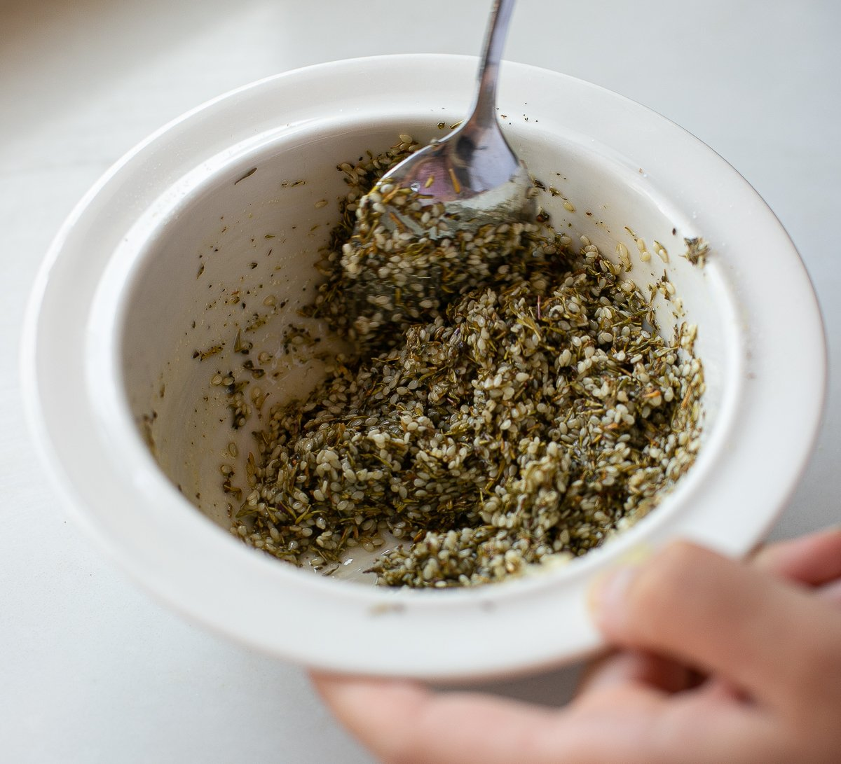 sesame herb mixture in a bowl for maneesh bread topping