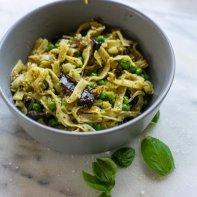 bowl of aubergine pesto pasta