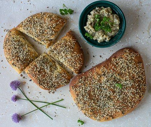 freshly baked maneesh bread served with homemade baba ganoush