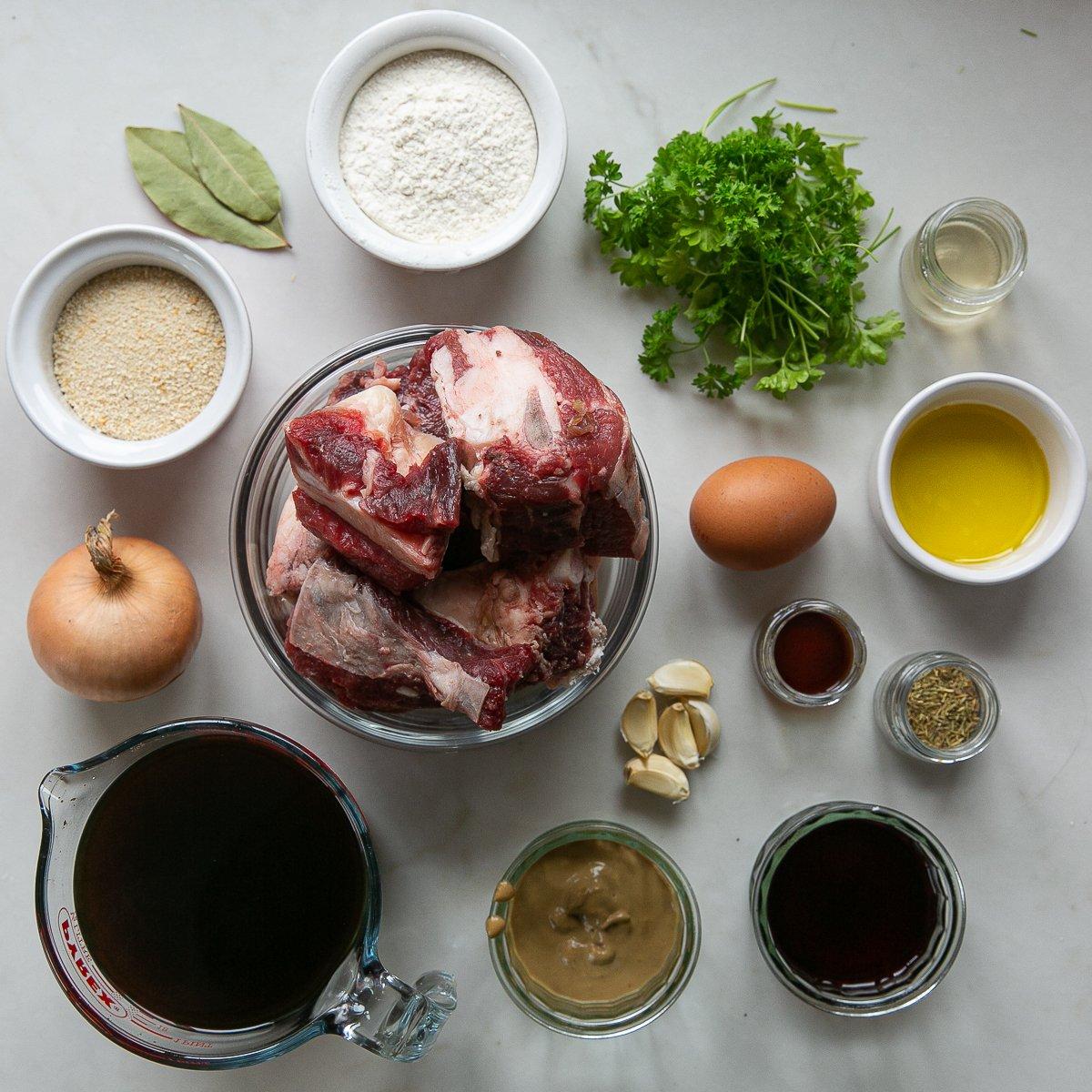 All the ingredients needed to make beef short rib ravioli