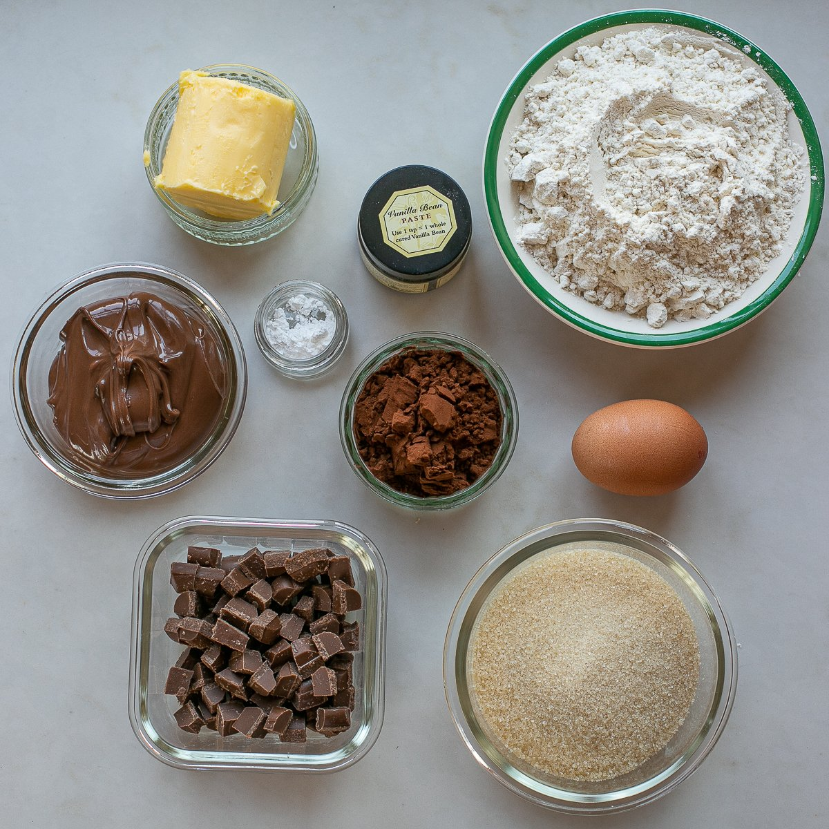 all the ingredients needed to make Double chocolate nutella cookies