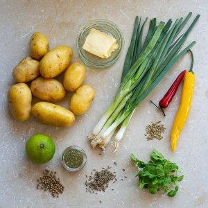 all the ingredients needed to make Dishoom's Gunpowder potatoes