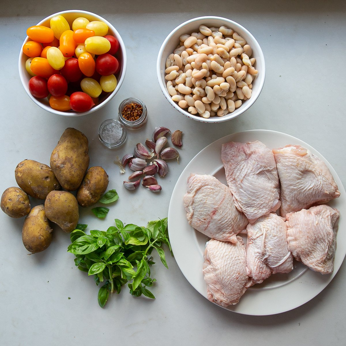 All the ingredients needed to make Jamie Oliver chicken