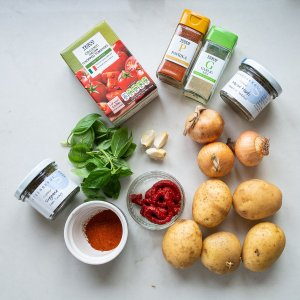 all the ingredients needed to make easy patatas bravas