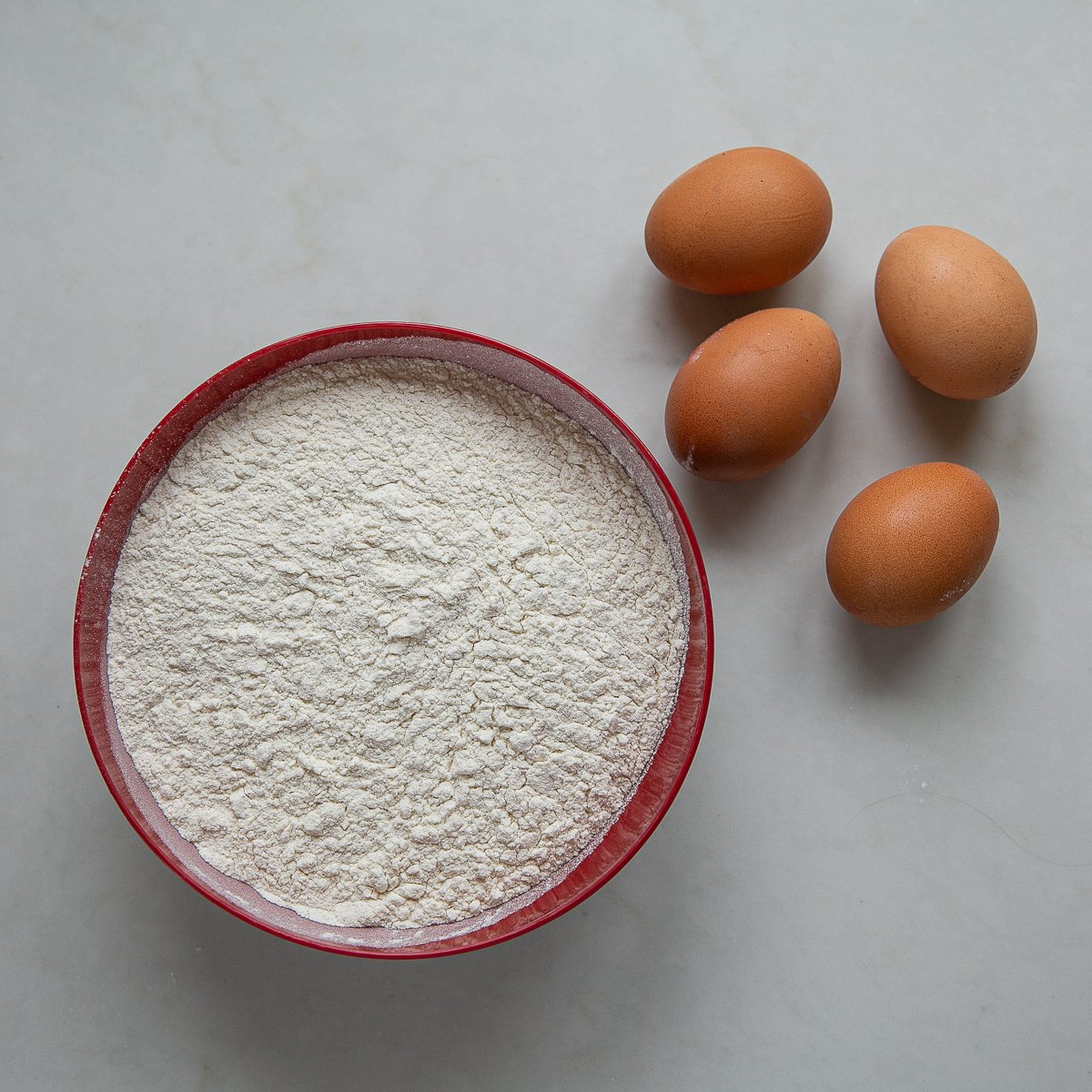 all the ingredients needed to make fresh pasta