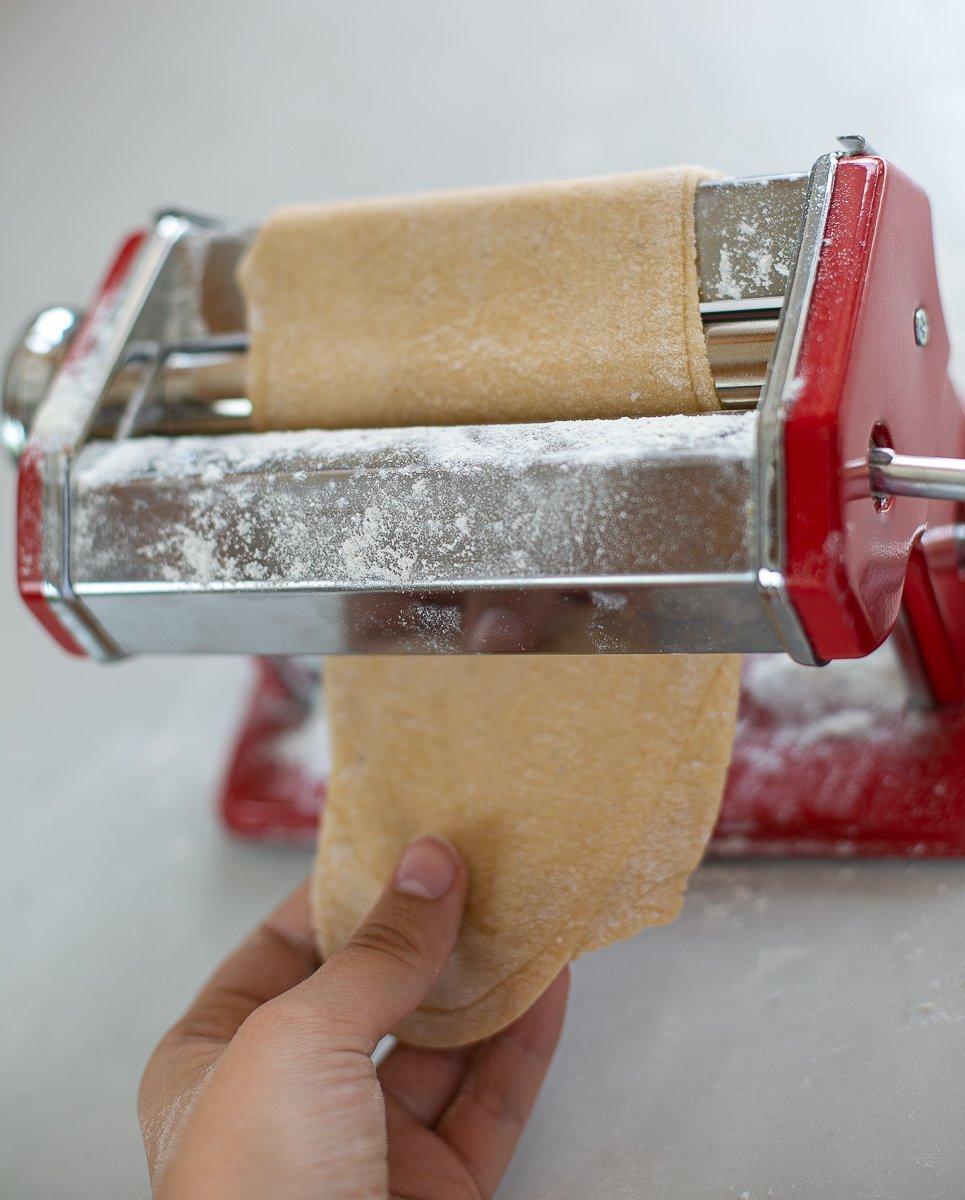 fresh pasta dough being shaped