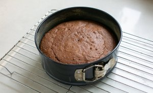 chocolate and amaretti cake cooling in a cake tin