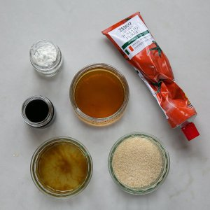all the ingredients needed to make Sticky Pork Stir Fry sauce