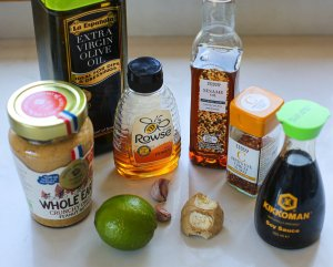 all the ingredients needed to make peanut stir fry sauce
