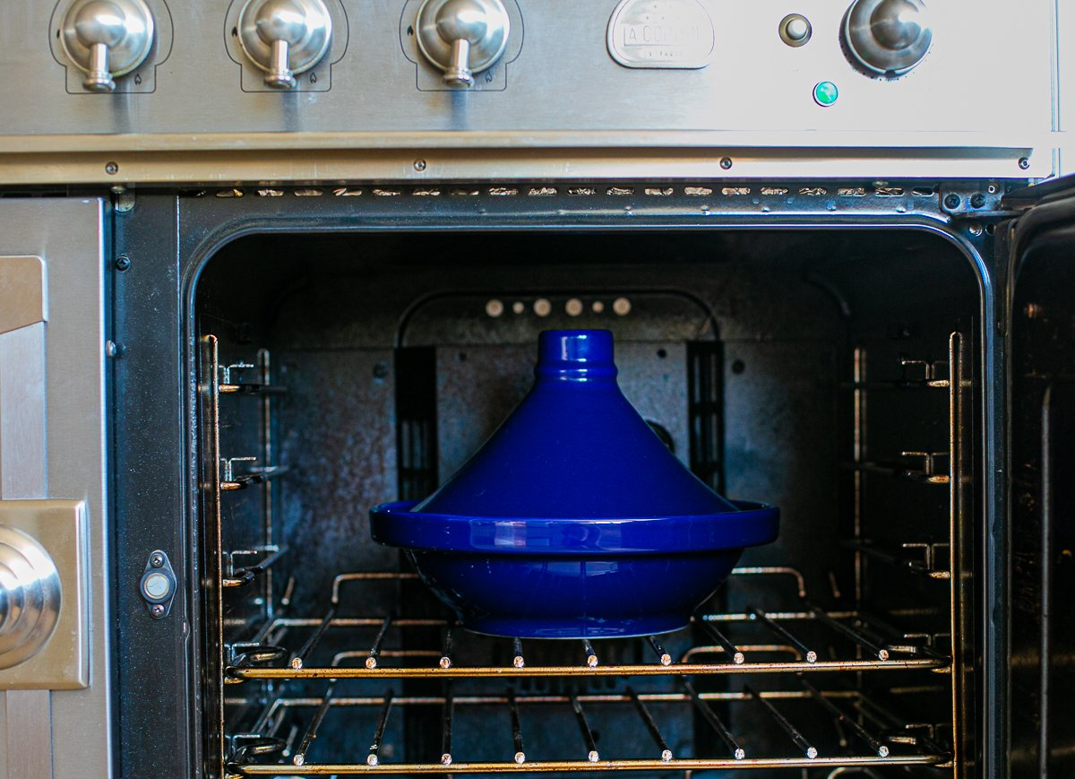 a tagine pot in an oven