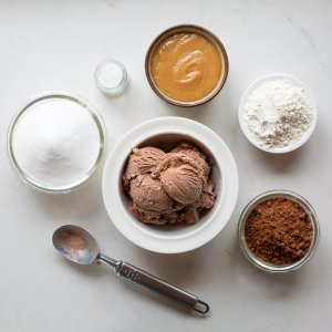 all the ingredients needed to make extra gooey salted-caramel brownies