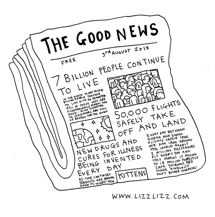 The Good News newspaper, including headlines like '7 Billion People Continue to Live', '50,000 Flights Safely Take Off and Land' and 'Kittens'