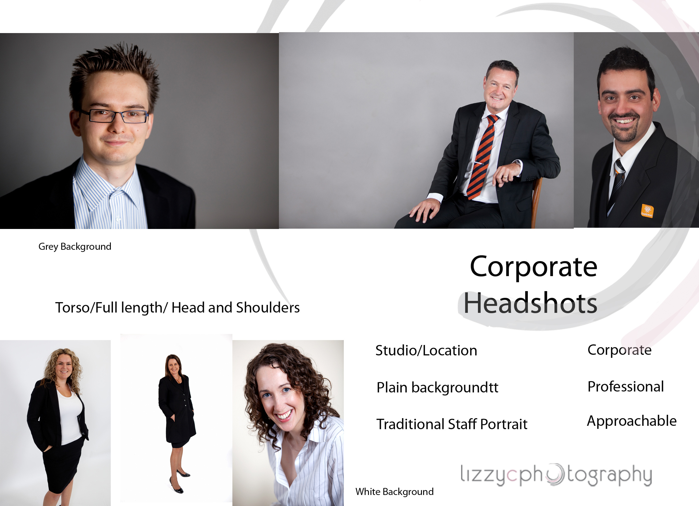 Different styles of corporate headshots