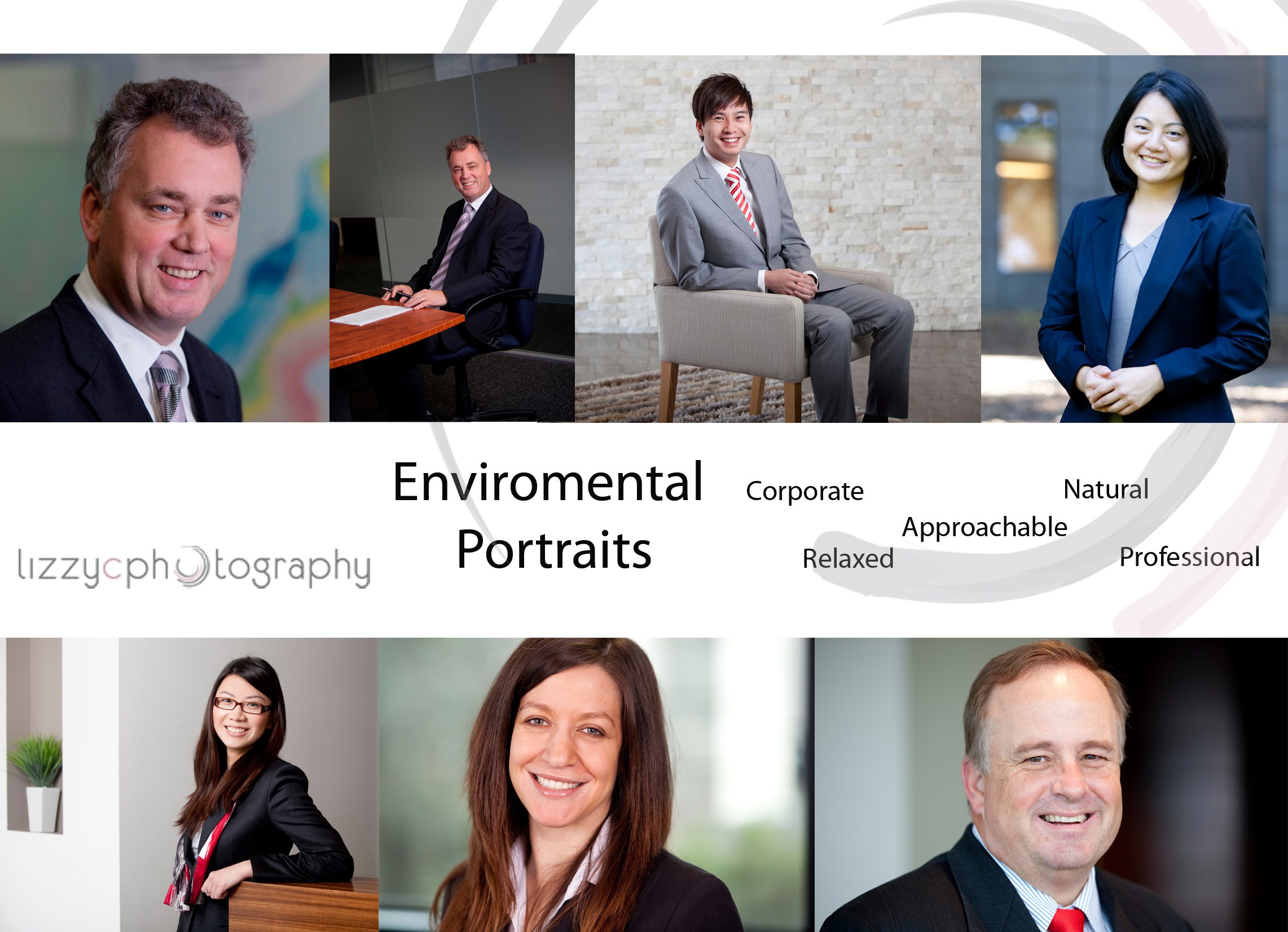 Different styles of enviromental portraits for professioanals