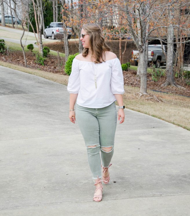 This off the shoulder look is great for Spring 2017!