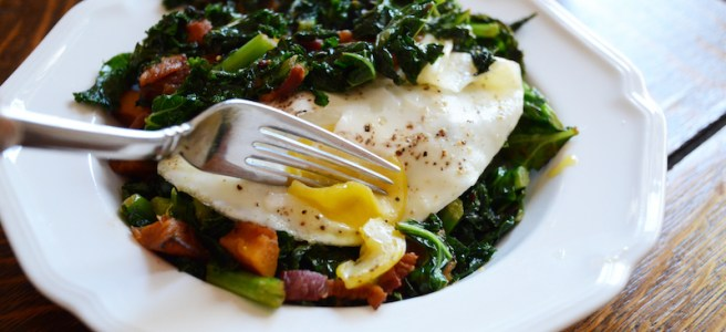 Wilted Kale with Bacon and Butternut Squash is a wonderful winter side that will fill you up without weighing you down! Top it with an egg to make it a meal. Only 6 Freestyle Smart Points by Weight Watchers!