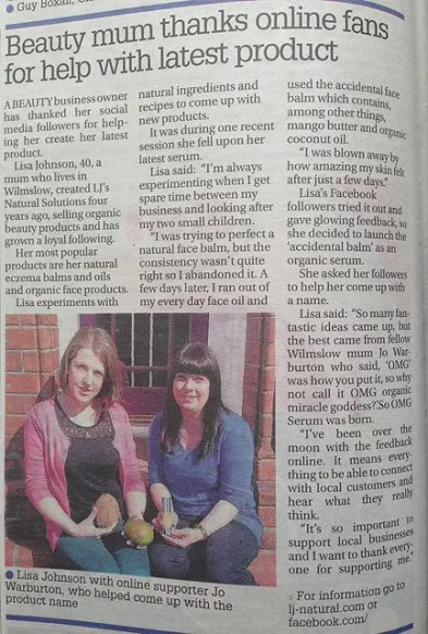 Wilmslow Express Article on JL's Natural Solutions