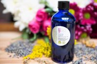 calming organic bath body oil to help with dry skin, eczema, to aid restfull sleep: handmade organic beauty products
