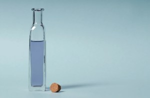Bottle on blue background