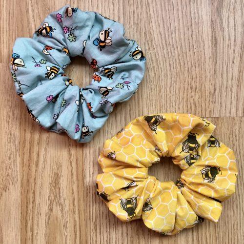 handmade bee hair scrunchie