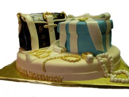 Single Layer Cake W/ Tiffany Gift and Louis Vuitton Purse