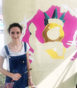 Ana Lopez and a partial painting