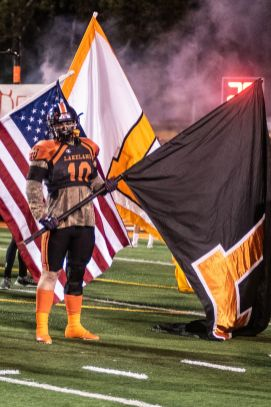 LHS senior PJ Sloan, prior to the Dreadnaughts entrance to the field.