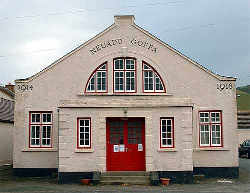 Llanrhystud Memorial Hall facade built 1927