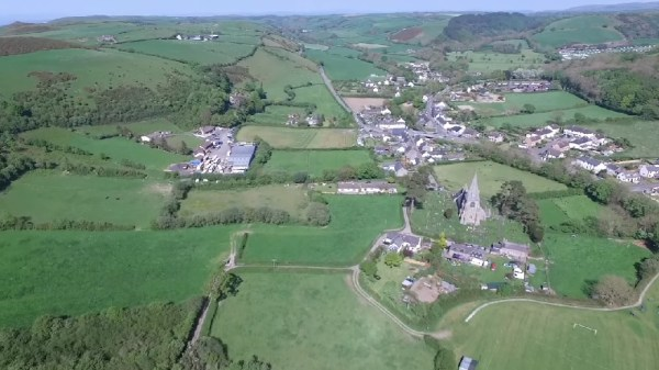 Arial view of Llanrhystud a small seaside village in Ceredigion, Wales.