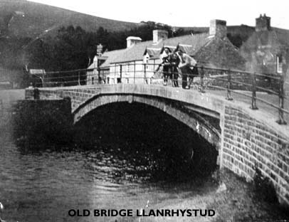 Early photo of old Llanrhystud Bridge spanning the river Wyre