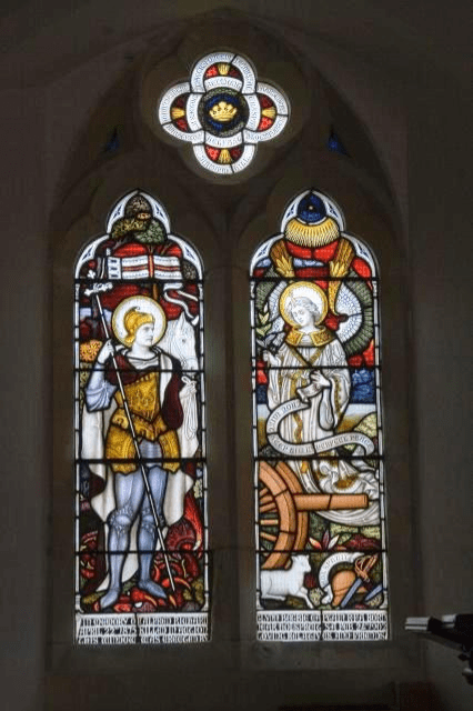Stained glass window at Llanrhystud Church