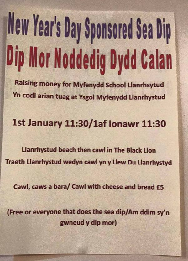 New Year's Day Sponsored Sea Dip 2017, Llanrhystud beach on 1 January 2017 at 11:30am, with free Cawl to everybody who takes part, available at the Black Lion Hotel, Llanrhystud