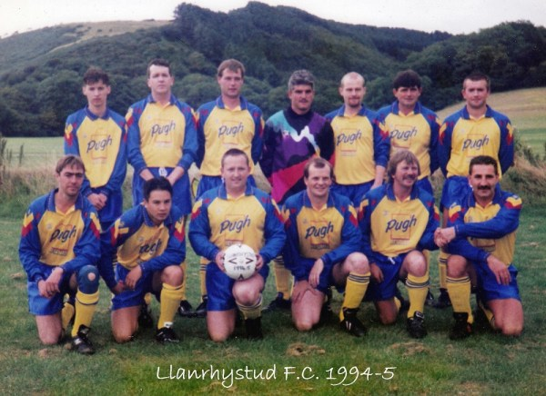 Llanrhystud Football Club team photo 1994-5 football season, Cambrian Football League.