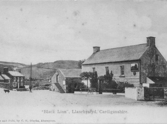 Early photo of Black Lion pub Llanrhystud, Ceredigion