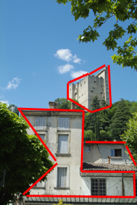 Proximity: front to back - the front building connects to the castle in the background