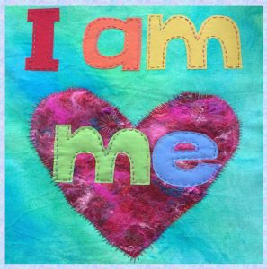 I am me picture book - quilted heart and words