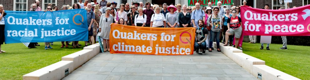 Quakers demonstrate for climate justice outside Friends House