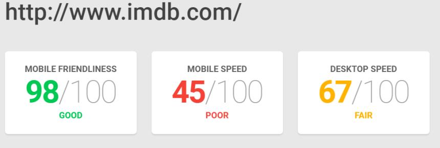 Adaptación a la web móvil y velocidad de carga de IMDb