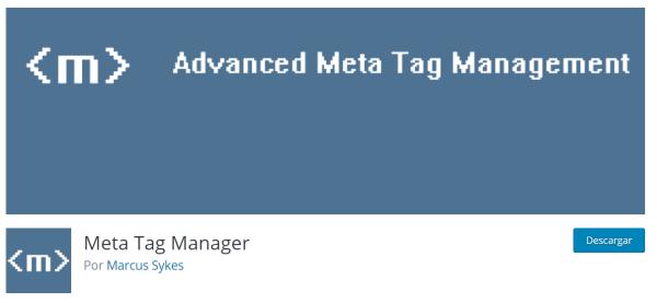 Plugin meta tag manager para añadir metadatos