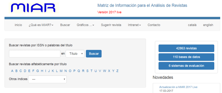 MIAR es un sistema de evaluación de la visibilidad de las revistas científicas