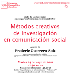 Barcelona, 24 de Mayo: Métodos Creativos de Investigación en Comunicación Social. Conferencia y Mesa Redonda