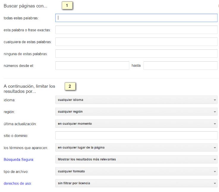 Búsqueda avanzada mediante formulario