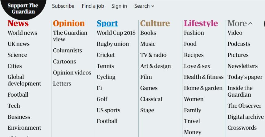 La taxonomía de un medio de comunicción. The Guardian