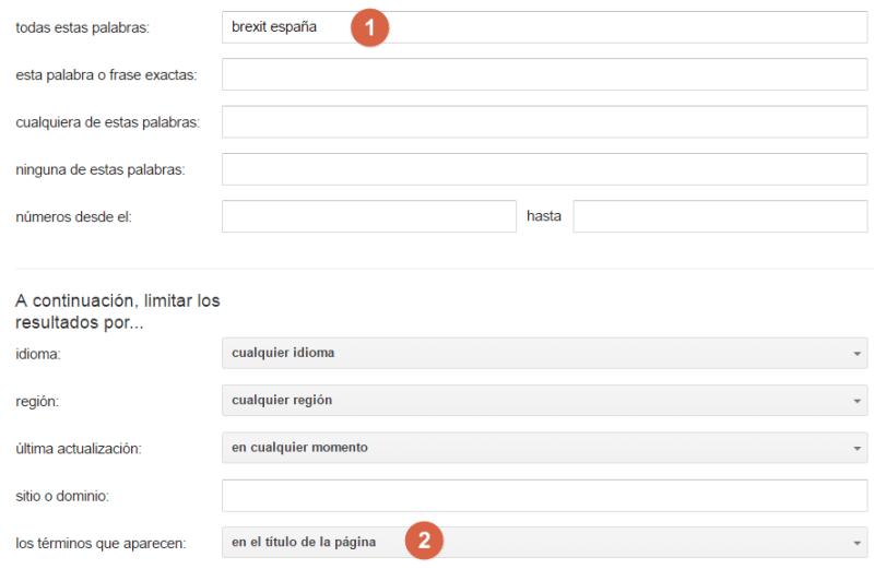 Operador para buscar palabras clave en el título de una página
