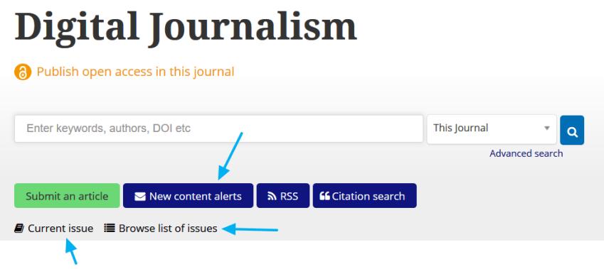 Sección de la revista Digital Journalism en Taylor & Francis