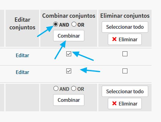 Combinar conjuntos de resultados en WoS