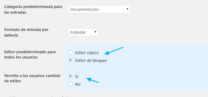 Opciones plugin editor clásico
