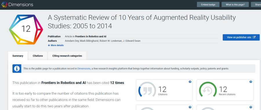 Ejemplo de la ficha de métricas de un artículo en Dimensions Analytics